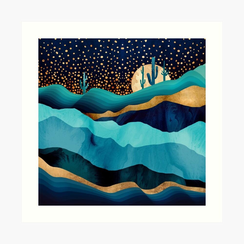 Noche del desierto de índigo Lámina artística