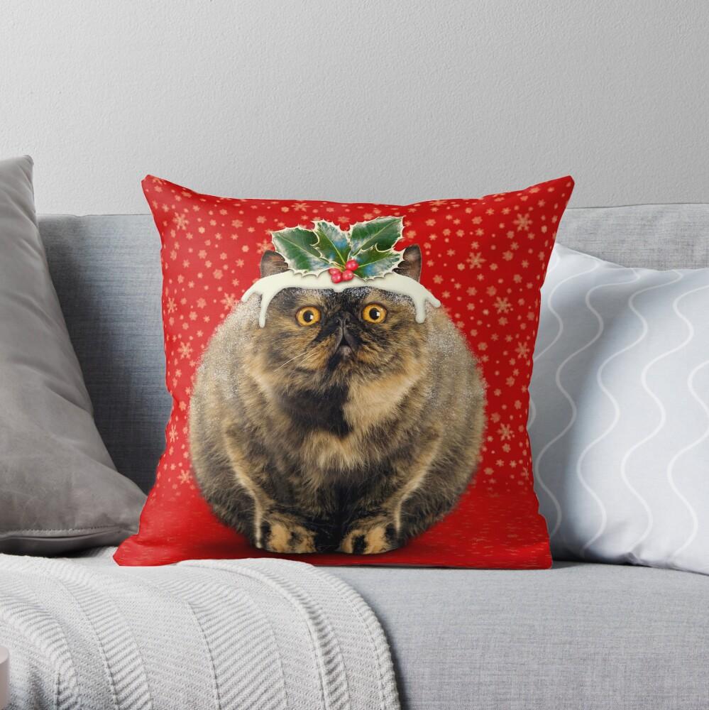Funny Fat Christmas Pudding Cat Throw Pillow