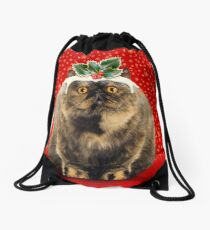 Funny Fat Christmas Pudding Cat Drawstring Bag