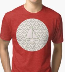 sailing boats on waves, medium green and white Tri-blend T-Shirt
