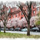 Watercolor Backbay Boston by Edward Fielding