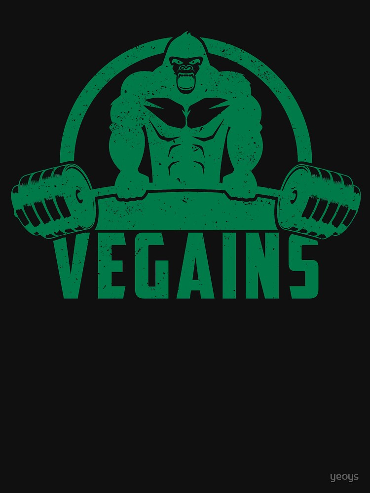 Vegains Vegan Muscle Gorilla - Funny Workout Quote Gift by yeoys