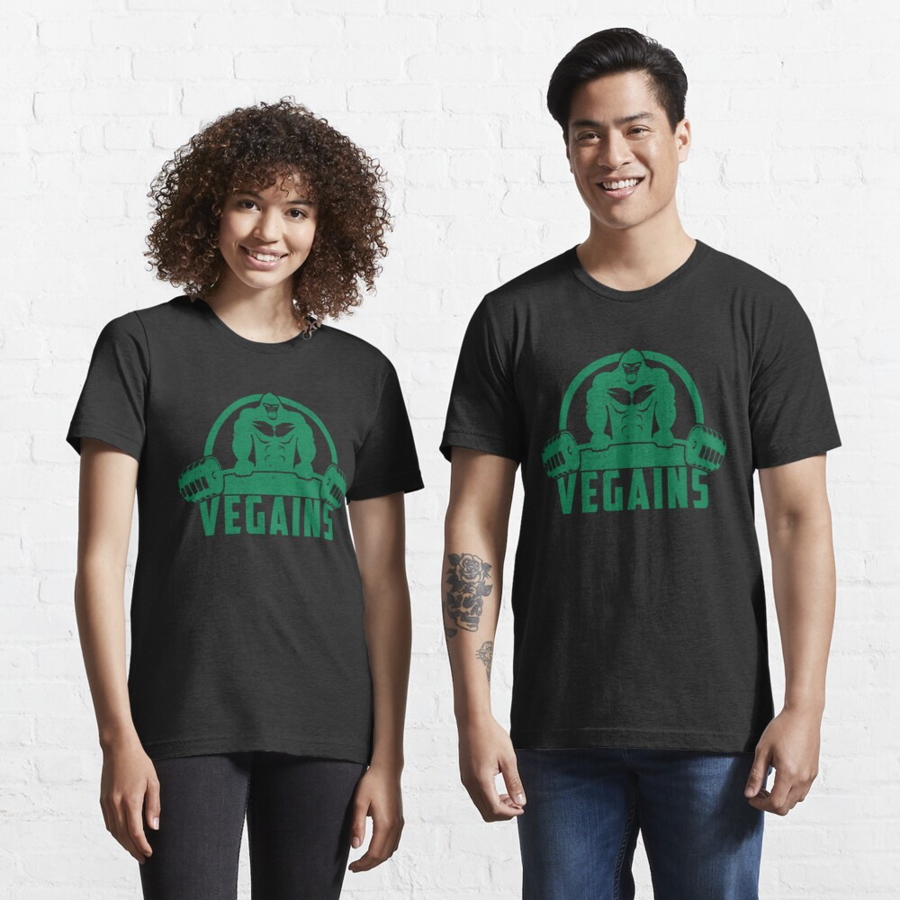 Vegains Vegan Muscle Gorilla - Funny Workout Quote Gift Essential T-Shirt