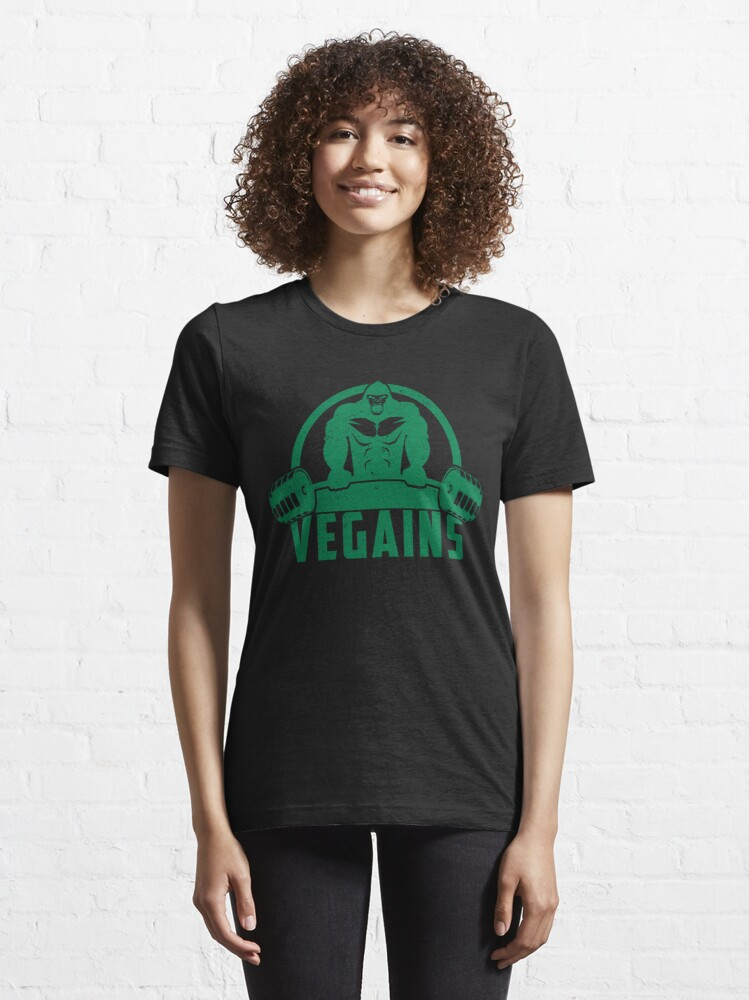 Alternate view of Vegains Vegan Muscle Gorilla - Funny Workout Quote Gift Essential T-Shirt