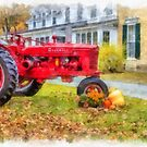Watercolor Antique Tractor Woodstock Vermont by Edward Fielding