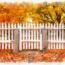 Watercolor New England Picket Fence by Edward Fielding