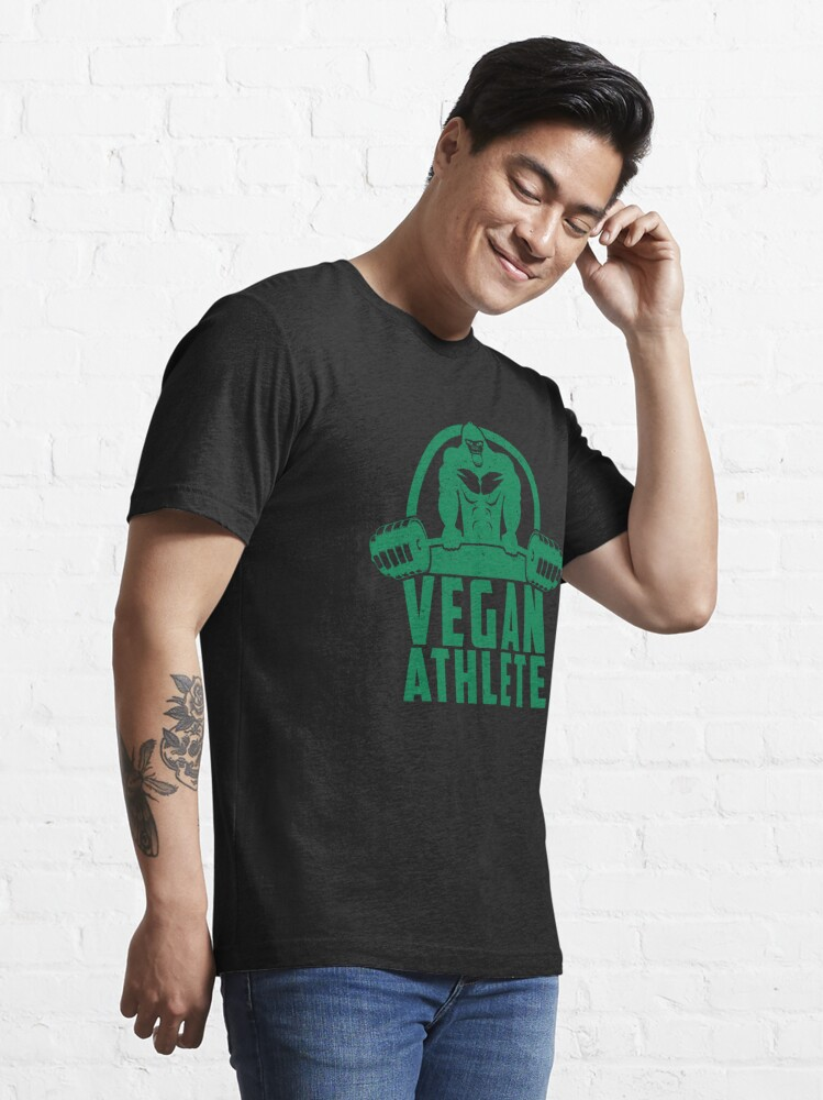 Alternate view of Vegan Athlete Muscle Gorilla - Funny Workout Quote Gift Essential T-Shirt