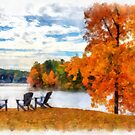 Watercolor Connecticut River from Norwich Vermont by Edward Fielding