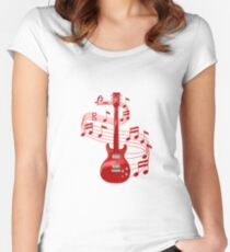 Red Electric Guitar With Music Notes Women's Fitted Scoop T-Shirt