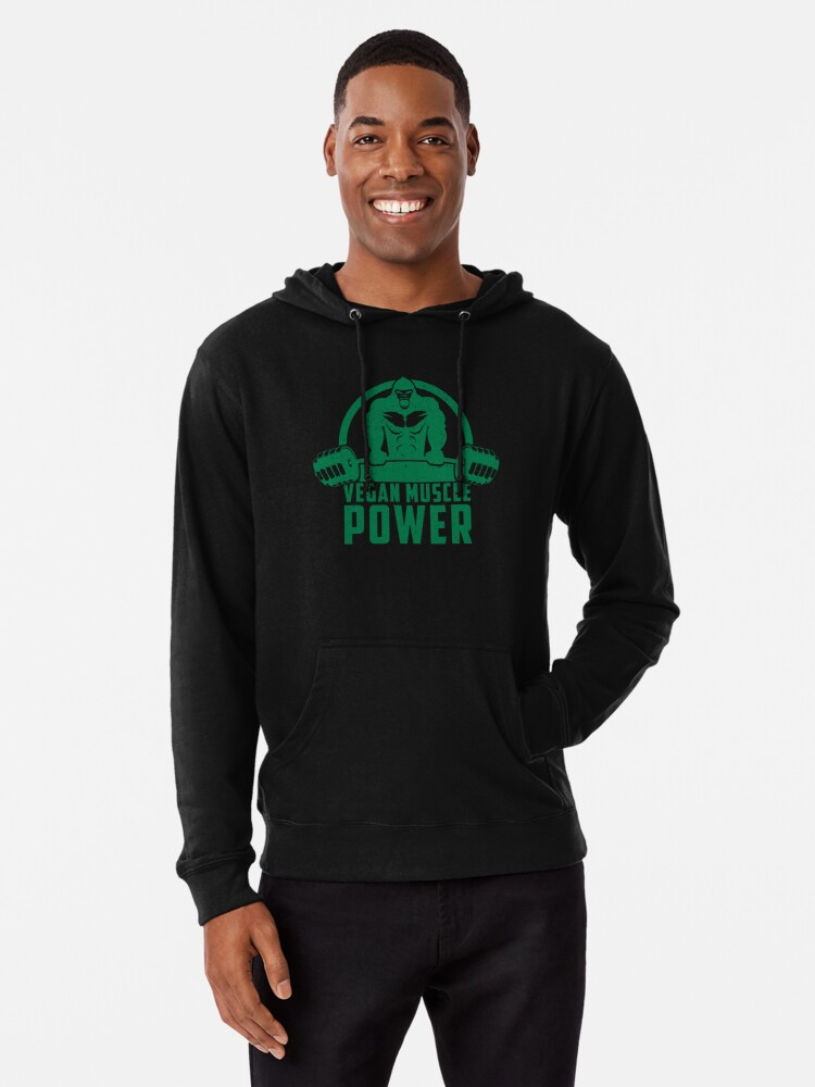 8b46424b Vegan Muscle Power Gorilla - Funny Workout Quote Gift Lightweight Hoodie