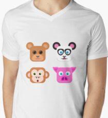 Cute Animal Friends Vector Men's V-Neck T-Shirt