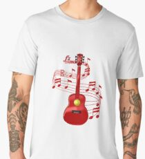 Acoustic Guitar With Music Notes Men's Premium T-Shirt