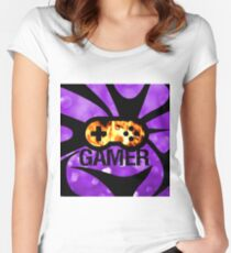 Purple Flame Gamer  Women's Fitted Scoop T-Shirt