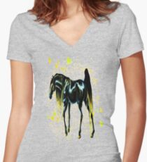 Yellow Love Horse Women's Fitted V-Neck T-Shirt