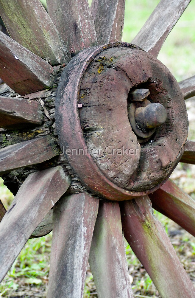 Weathered Old Wheel by Jennifer Craker