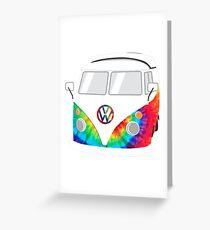 VW Camper Van - TieDye Greeting Card