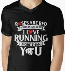 Hearts Funny Valentine Tshirt Roses are Red Violets Are Blue I Love Running Shirt (M2) Men's V-Neck T-Shirt