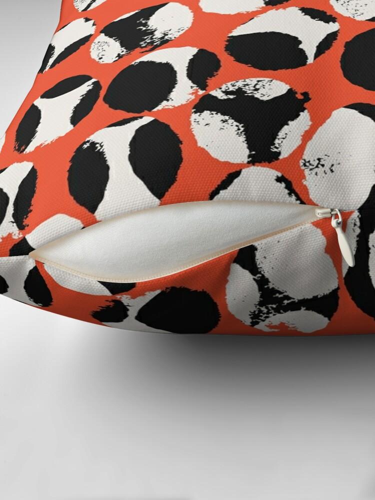 Alternate view of BEETLES AND STONES, mofdern design in orange red, black, cream Throw Pillow