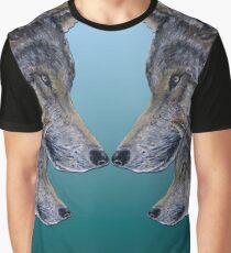 4 Wölfe /Wolves blue Graphic T-Shirt