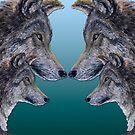 4 Wölfe /Wolves blue von Doris Thomas