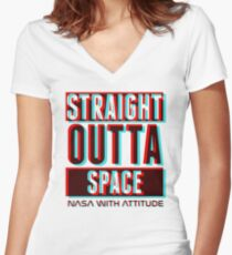 3D Straight Outta Space 1  Women's Fitted V-Neck T-Shirt