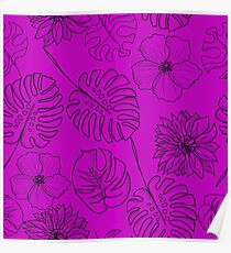 Gorgeous hand drawn hawaiian tropical leaves and flowers print Poster