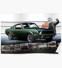 Steve McQueen Bullitt 1968 Ford Mustang Poster