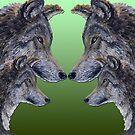 4 Wölfe/Wolves grün/green von Doris Thomas