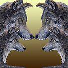 4 Wölfe/Wolves gelb/yellow von Doris Thomas