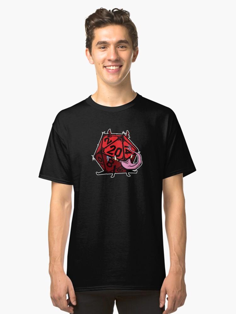D20 Dice mimic pup RED Classic T-Shirt Front
