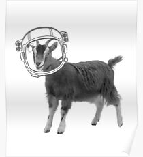 Astronaut Space Goat Farm Animal Black and White  Poster