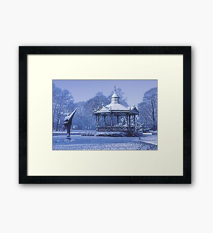 Music Kiosk in the snow - in blue Framed Print
