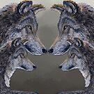 4 Wölfe /Wolves grau /grey von Doris Thomas