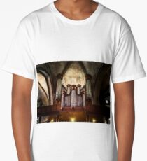 Beautiful pipe organ in old medieval cathedral, Bretagne, France Long T-Shirt