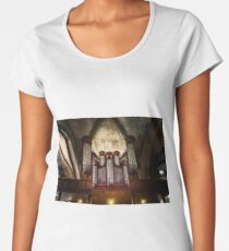 Beautiful pipe organ in old medieval cathedral, Bretagne, France Women's Premium T-Shirt