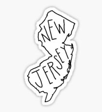 New Jersey - Text with White Outline Sticker