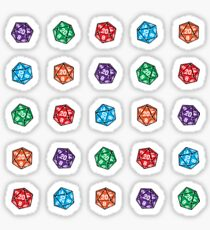 D20 Multiple Dice Linear Sticker