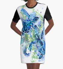 Meeresschildkröten Türkis BLue Design T-Shirt Kleid