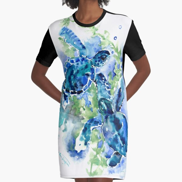 Sea Turtles Turquoise BLue design Graphic T-Shirt Dress