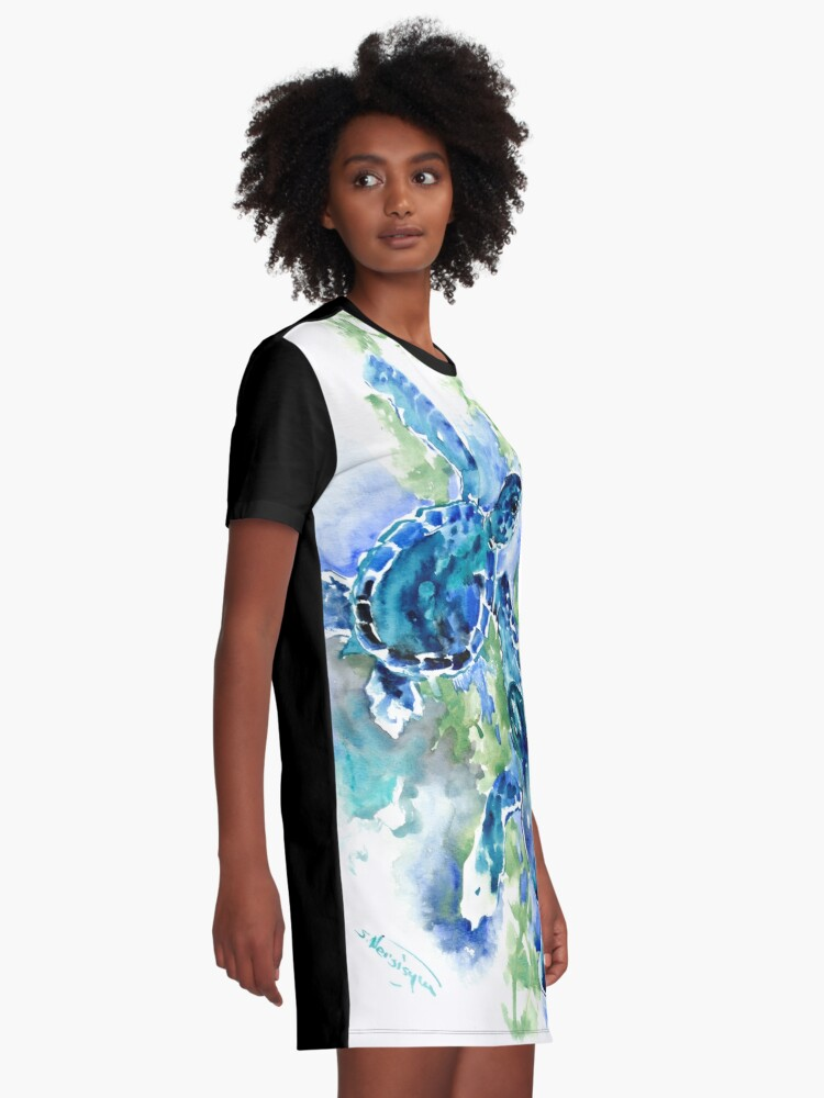 Alternate view of Sea Turtles Turquoise BLue design Graphic T-Shirt Dress