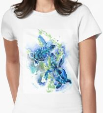 Sea Turtles Turquoise BLue design Women's Fitted T-Shirt