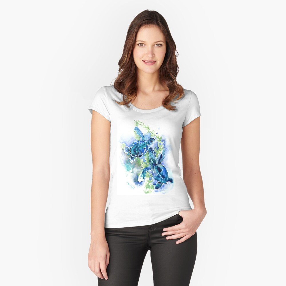 Sea Turtles Turquoise BLue design Fitted Scoop T-Shirt