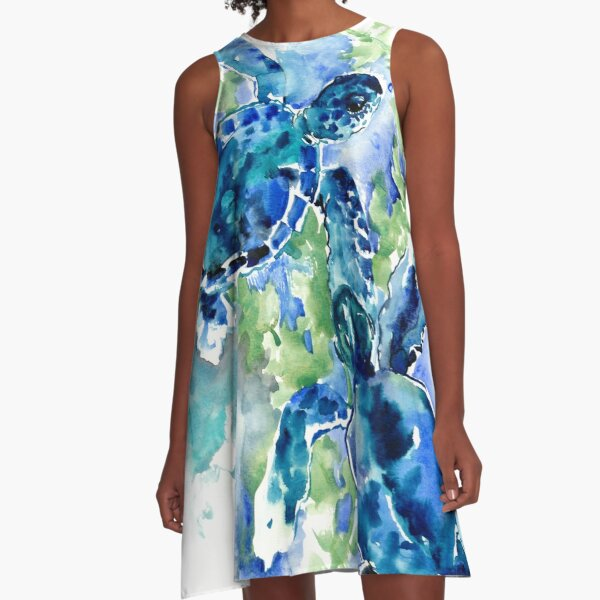 Sea Turtles Turquoise BLue design A-Line Dress