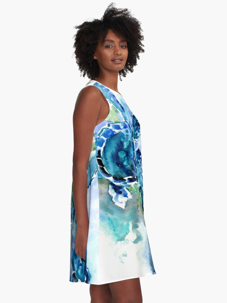 Alternate view of Sea Turtles Turquoise BLue design A-Line Dress