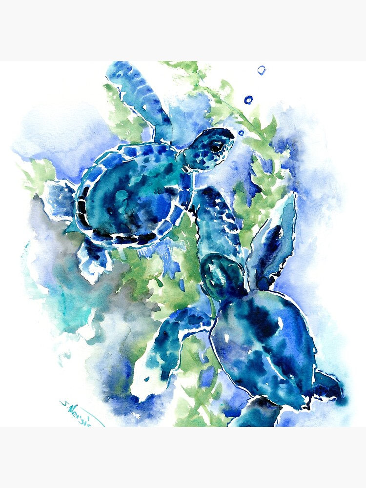 Sea Turtles Turquoise BLue design by surenart