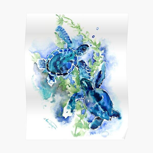 Sea Turtles Turquoise BLue design Poster