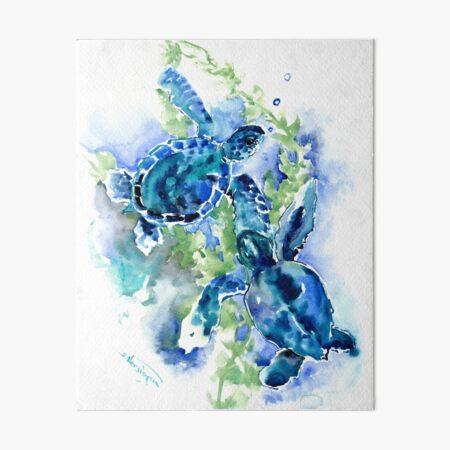 Sea Turtles Turquoise BLue design Art Board Print