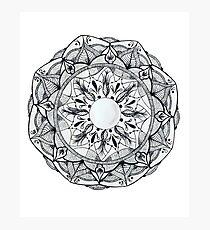 Mandala Black and White Photographic Print