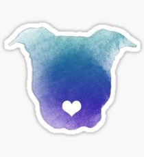 Watercolor Pitbull Love Sticker
