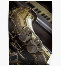 Old Saxophone Piano  Poster